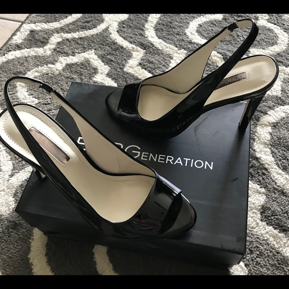 b9d240adfc7 BCBGeneration Shoes - BCBG black patent leather open toe sling backs
